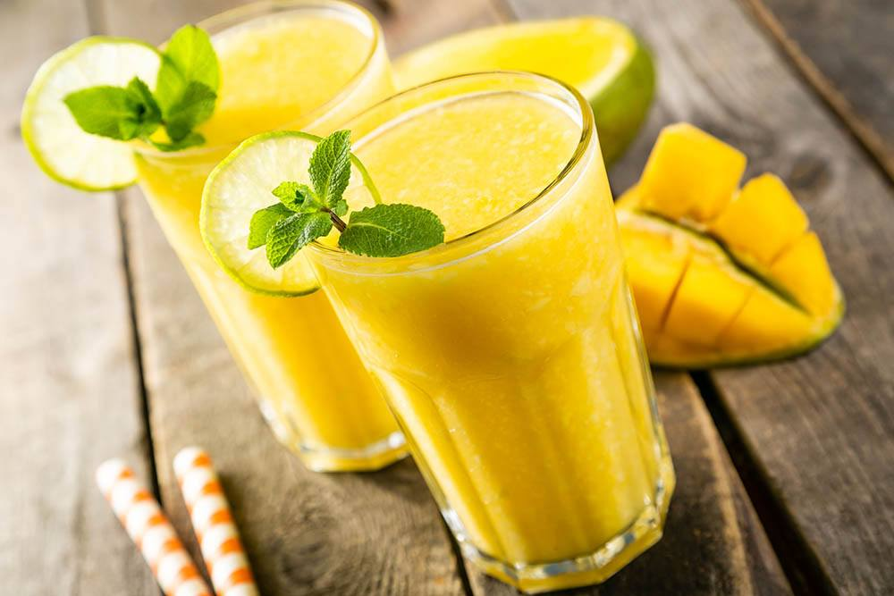 Mango smoothie and ingredients