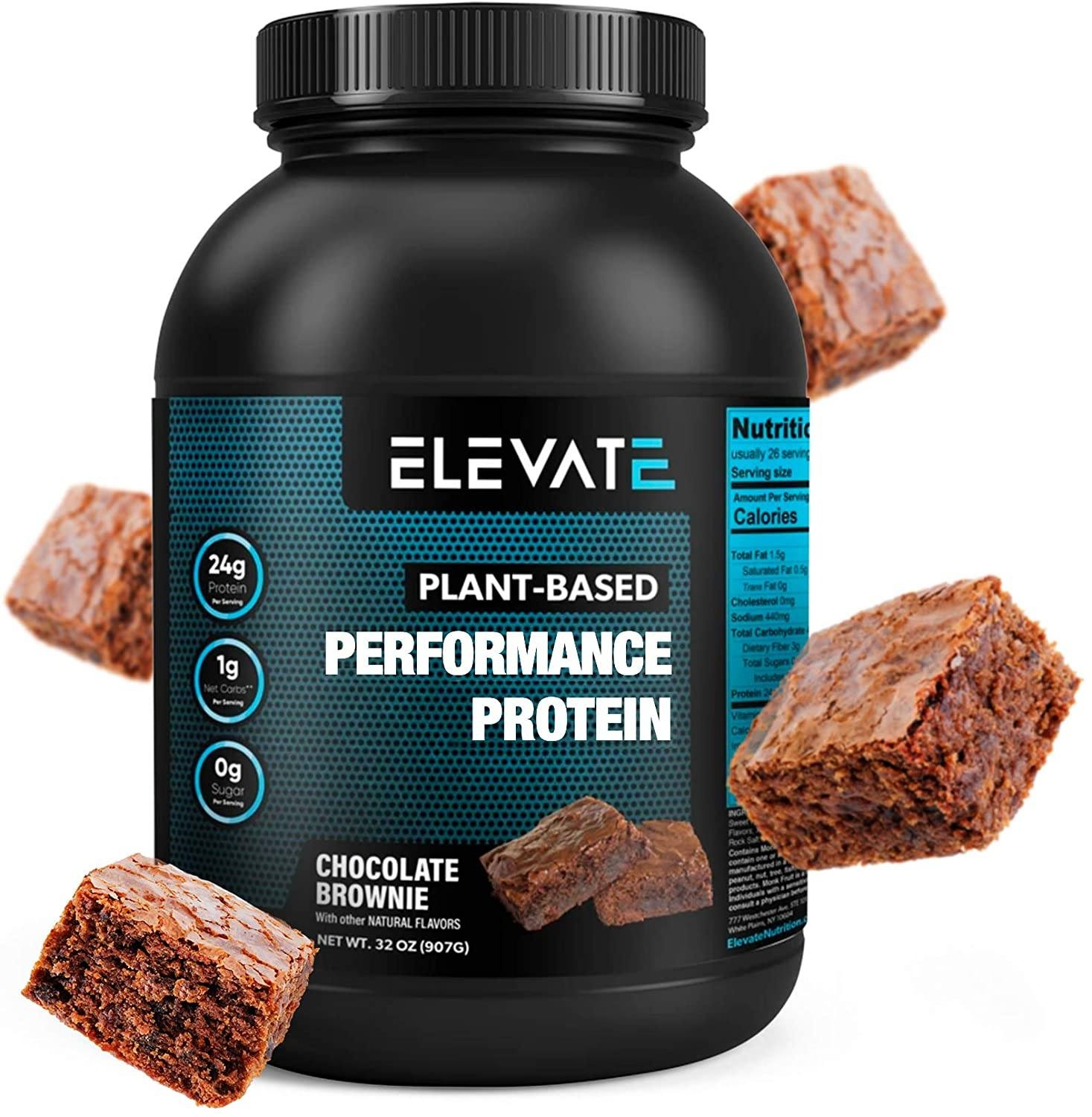 plant based chocolate brownie protein powder by Elevate Nutrition 1