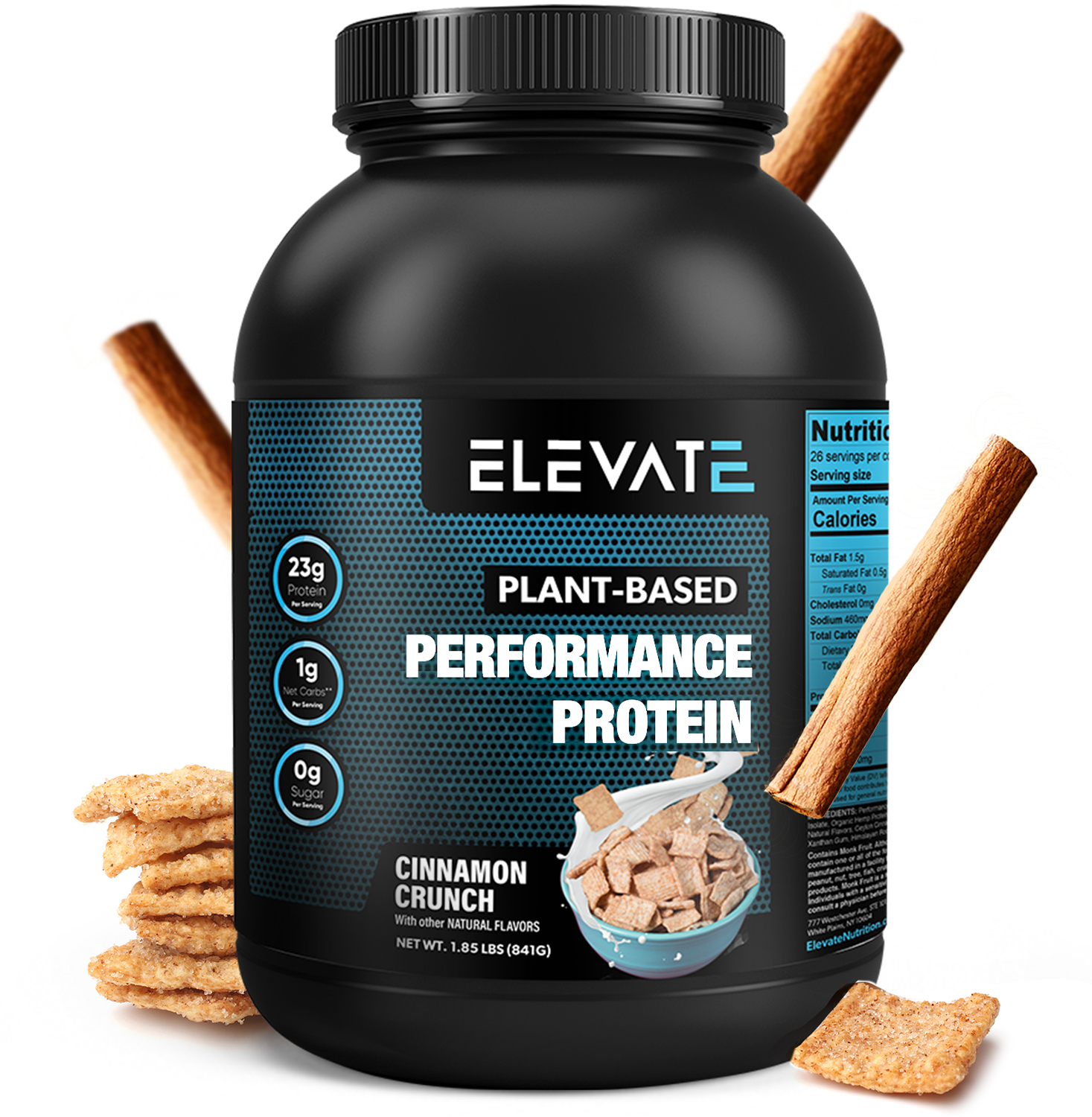 plant based chocolate brownie protein powder by Elevate Nutrition magnified