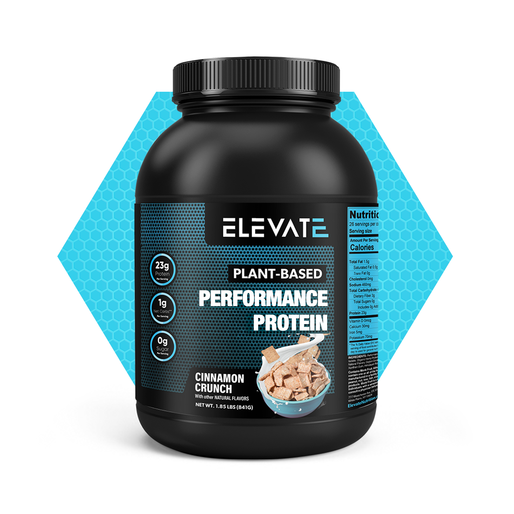 plant based performance protein cinnamon crunch by Elevate 4