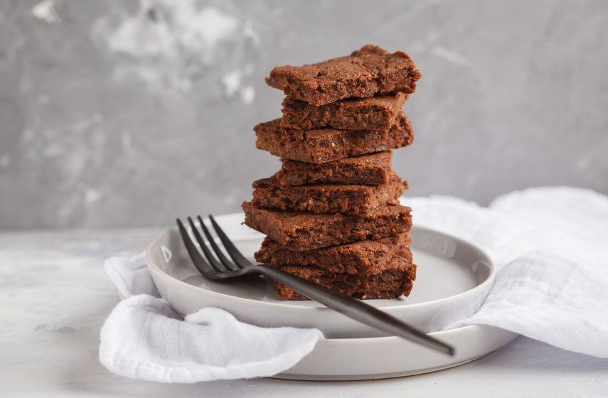 A stack of slices of healthy vegan brownie. Healthy dietary vega